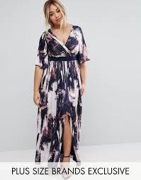 little mistress plus printed kimono sleeve maxi dress multi women