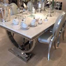 Marble And Wood Dining Table Cream Marble And Chrome Dining Table With U Shaped Legs La