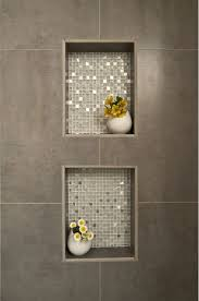 mosaic ideas for bathrooms up view of shower cutouts to hold supplies beautiful