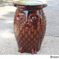 international caravan wise old owl ceramic garden stool free