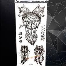 black wolf dreamcatcher designs temporary sticker