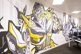 office interior design hasbro office graffiti mural art toy find this pin and more on office design walls by tetrisbluu
