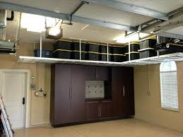 Garage Ceiling Lights Home Design Brown Cabinets With Hanging Shelves And Ceiling