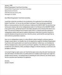 sample cover letter for travel grant application cover letter