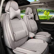 Minivan Interior Accessories Linen Fabric Car Seat Covers 5 Seat Custom Fit For Mg3 Interior