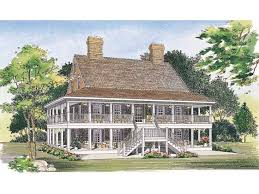 country house plans with wrap around porches two levels of wraparound porches hwbdo00967 country from