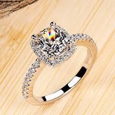 2 engagement rings cushion 2 carat imitation diamonds engagement ring princess cut