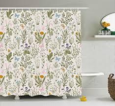 Botanical Shower Curtains Floral Shower Curtain By Ambesonne Vintage Garden