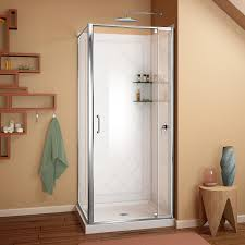 shop shower stalls kits at lowes com dreamline flex white wall acrylic floor square 3 piece corner shower kit actual