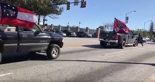 Confederate Flag Pickup Truck Protesters Wave Confederate Flag Outside Of Ncaa Basketball Games