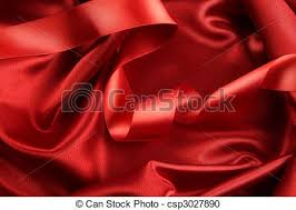 stock photography of rich red color satin fabric with ribbon