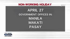 april 27 28 idineklarang non working holiday youtube