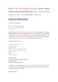 bobcat 325 328 compact excavator service repair workshop manual down u2026