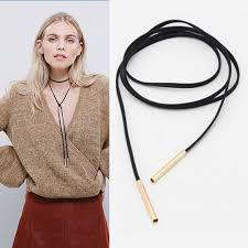 leather necklace string images New charm black leather suede cord necklace fashion long bow jpg