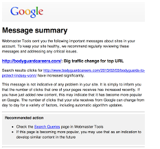 google webmaster tools sending traffic increase emails