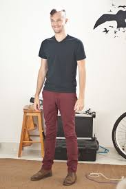 n1c is wearing topman black v neck country road maroon chinos