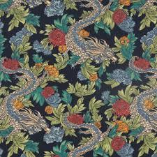 Upholstery York Navy Blue Upholstery Yardage Dragon Fabric Print Cotton Fabric