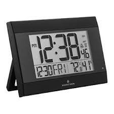 Digital Atomic Desk Clock Amazon Com Marathon Cl030052bk Atomic Digital Wall Clock With