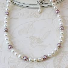 pearl lace and lace pearl necklace with cultured pearls in mauve and white