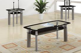 3 piece end table set 3 piece black glass modern coffee table set