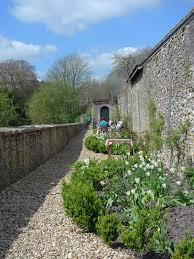 walled garden at mells through the garden gate