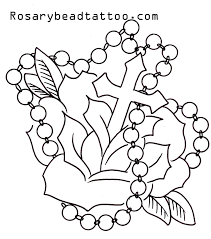flower with roseary stencils rosary tattoo cross tattoo design