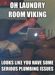Laundry Room Viking Meme - oh laundry room viking looks like you have some serious plumbing