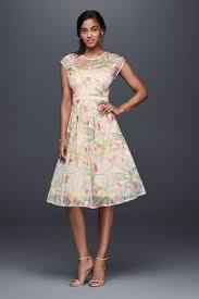 midi dress embroidered organza fit and flare midi dress david s bridal