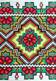 embroidered by cross stitch pattern ukrainian ethnic