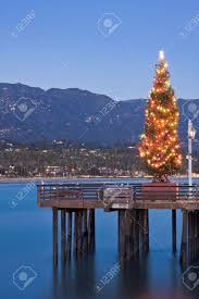 a christmas tree displayed on stearn u0027s wharf in santa barbara