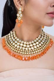 orange necklace sets images Polki kundan and semi precious orange carnelians necklace set jpg