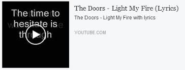 The Doors Light My Fire Lyrics Fire U0026 Water Csf On The Road To Find Out