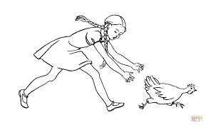 is chasing the hen coloring page free printable coloring pages