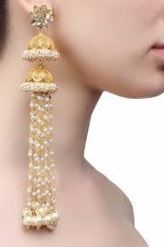 jhumka earrings with chain jhumkas moti chain gold plated jhumki pearl pernia s