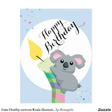 cute chubby cartoon koala illustration birthday postcard