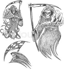 death with scythe pencil sketch halloween vector icon gothic