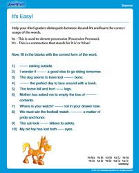 it u0027s easy free grammar worksheet for 3rd grade jumpstart