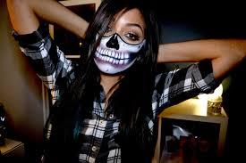 Skull Mask Halloween Half Skull Mask Halloween Makeup Tutorial Youtube