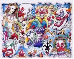 sweet blue red and black color ink more evil clown tattoo designs