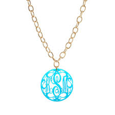script monogram necklace moon and lola acrylic rimmed script monogram necklace on