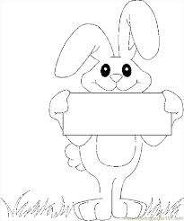 Hand Washing Coloring Sheet - bunny holding banner coloring page free holidays coloring pages