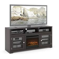 60 Inch Tv Stand With Electric Fireplace Corliving West Lake Fireplace Bench For Tvs Up To 68
