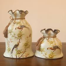 creative sack shape vase decorative bird printing vintage flower