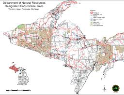 up michigan map michigan snowmobile trail map michigan map