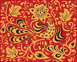 floral pattern with bird russian national ornament