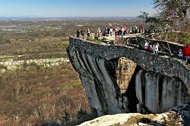 photo atop a high cliff at rock city gardens chattanooga tennessee