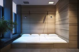 home design surrounded wooden wall in awesome modern bedroom