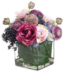 Fake Flower Arrangements Hydrangea Rose Allium And Ranunculus Arrangement In Glass Vase