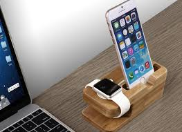 Iphone 5 Desk Stand by Amazon Com Apple Watch Stand Qcute Charging Dock Bamboo Wood