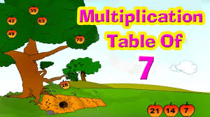 learn multiplication table of seven 7 x 1 u003d 7 counting for